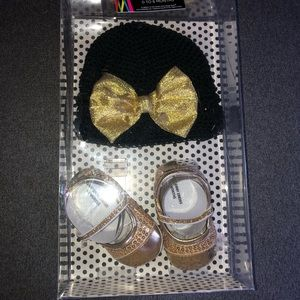 Black and Gold hat and dress shoe set